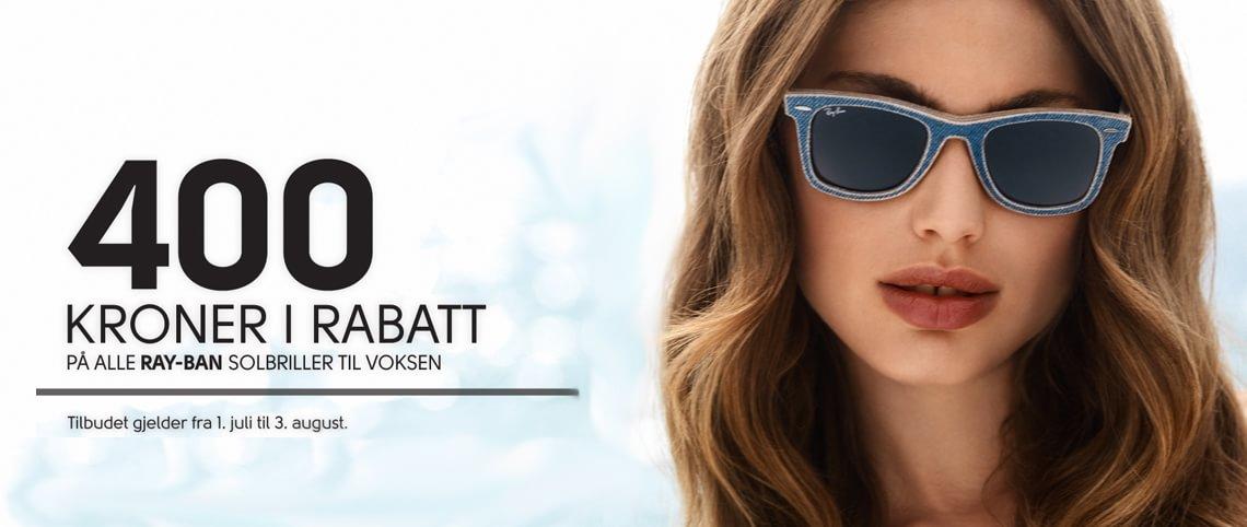 Kmapanjetilbud på Ray-Ban 400,- i rabatt på solbriller til voksne